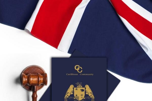Union Jack flag and gavel